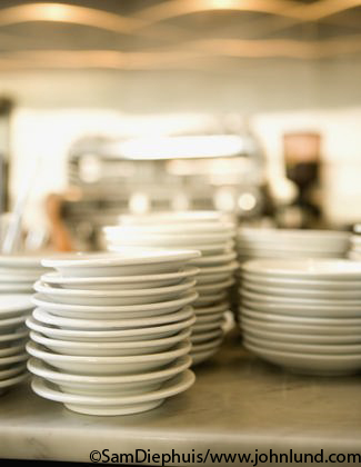 Picture of stacks of restaurant dishes - Stock Photo